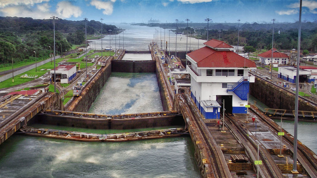 panama canal / idleBG / noframe.photograhy Architecture Boat Built Structure City Cloud - Sky Day No People On A Boat Outdoors Panama Canal Panamá River Sailing Sailing Ship Sky Staircase Steps Travel Travel Destinations Tree Water