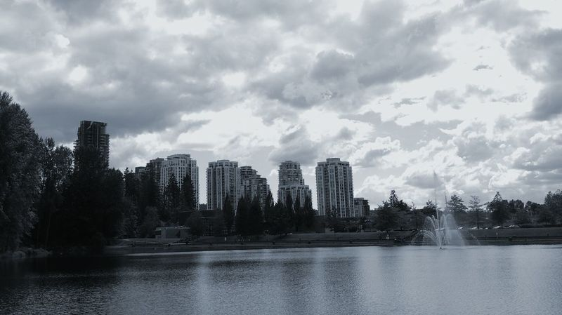 Skyline Coquitlam Lake Fountain Clouds Black & White