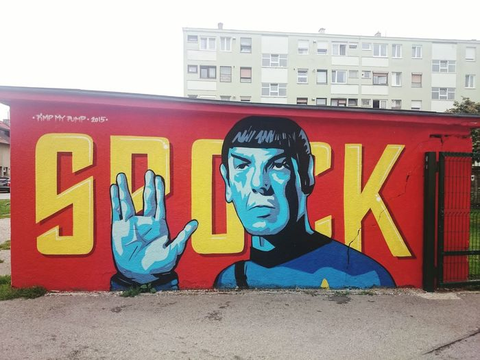 Streetphotography ArtWork Mr Spock Spock Graphite Taking Photos Walking Around Star Trek Wall Art Red