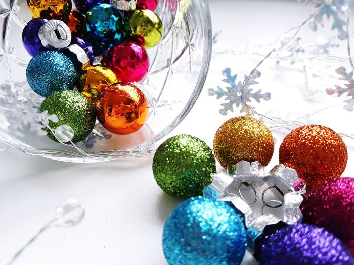 Close-up of christmas decorations on table