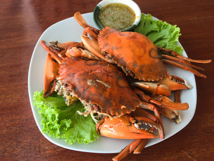 Stream egg crab with spicy sauce on dish Food And Drink Seafood Stream Crab Stream Egg Crab Close-up Crabs Day Delicious Food Food And Drink Freshness Healthy Eating High Angle View Indoors  No People Plate Ready-to-eat