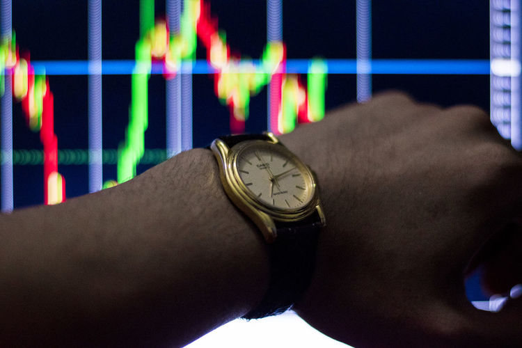 See stock chart time See Stock Chart Time Time Human Hand Watch Hand Human Body Part Wristwatch One Person Body Part Real People Clock Lifestyles Close-up Instrument Of Time Men Indoors  Personal Perspective Leisure Activity Adult Checking The Time Human Limb Personal Accessory Finger