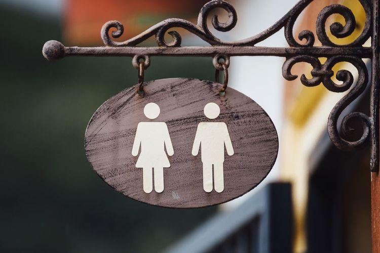 Close-up of restroom sign
