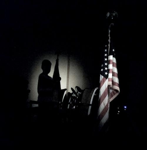 Patriotic service Silhouette Dark Spotlight Performer  Performance Indoors  Church Church Service Shadow Shadows & Lights Faded