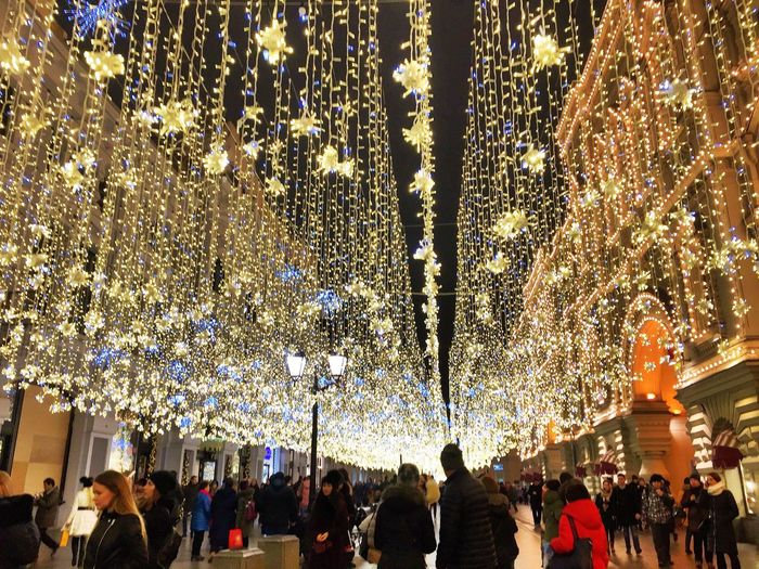Гум City Moscow Holiday Spititout Fun Winter Downtown Lights Tree Christmas Leisure Activity Hanging Outdoors People Crowd