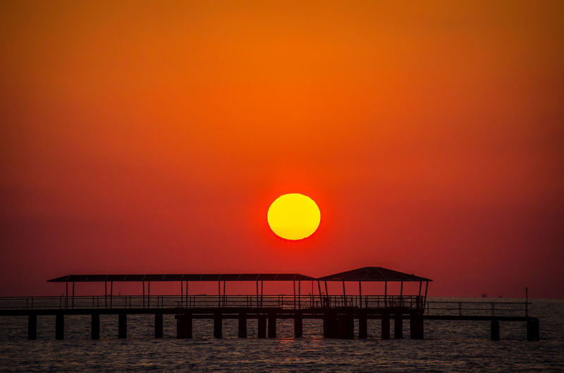 Architecture Beauty In Nature Bridge - Man Made Structure Built Structure Day Horizon Over Water Nature No People Orange Color Outdoors Railing Scenics Sea Sky Sun Sunset Tranquil Scene Tranquility Water