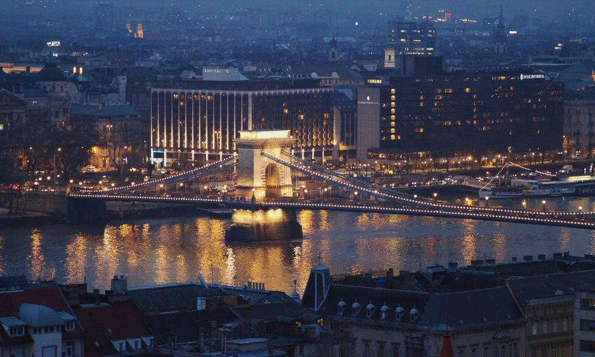 Aerial View Architecture Bridge Bridge - Man Made Structure Budapest Building Exterior Built Structure Capital Cities  Chain Bridge City Cityscape Community Composition Connection Development Illuminated Modern Night Office Building Perspective Residential District River Skyline Skyscraper Top Perspective