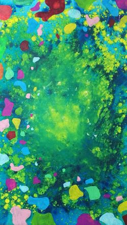 Nice Painting~! 😍 Multi Colored Creativity Backgrounds Art And Craft Abstract Green Color Full Frame Painted Image Pattern Watercolor Painting No People Paint Close-up