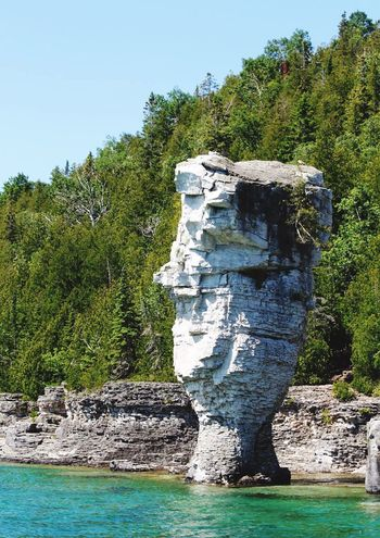 Lake Tree Water Rock - Object Adventure Tranquil Scene Beauty In Nature Clear Sky Tranquility Blue Turqoise Georgian Bay Bruce Peninsula Flowerpotisland Travel Destinations Sea No People Cliff Nature Outdoors Beauty In Nature Sky Day