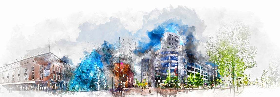 Digital watercolor painting of a Eindhoven city center. Netherlands. Western Europe Altered Image Architecture Building Exterior City Contemporary Architecture Digital Art Digital Painting Digitally Generated Downtown Dutch Eindhoven Eindhoven Netherlands Europe Heart Of The City Holland Illustration Landmark Landscape Netherlands Picture Springtime Travel Destinations Urban Landscape Watercolor Watercolor Painting