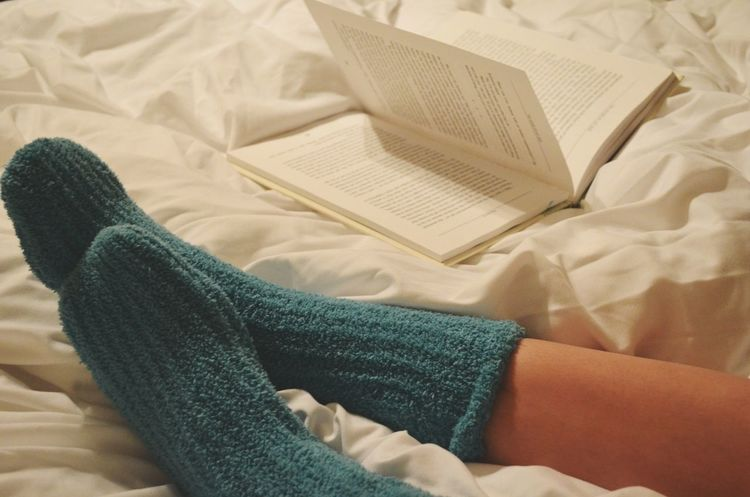 Book Socks Slippers Love Vintagefilter Photography Nikon Limb Indoors  Human Body Part Textile Sock Human Leg Low Section High Angle View Wool People Close-up One Person First Eyeem Photo
