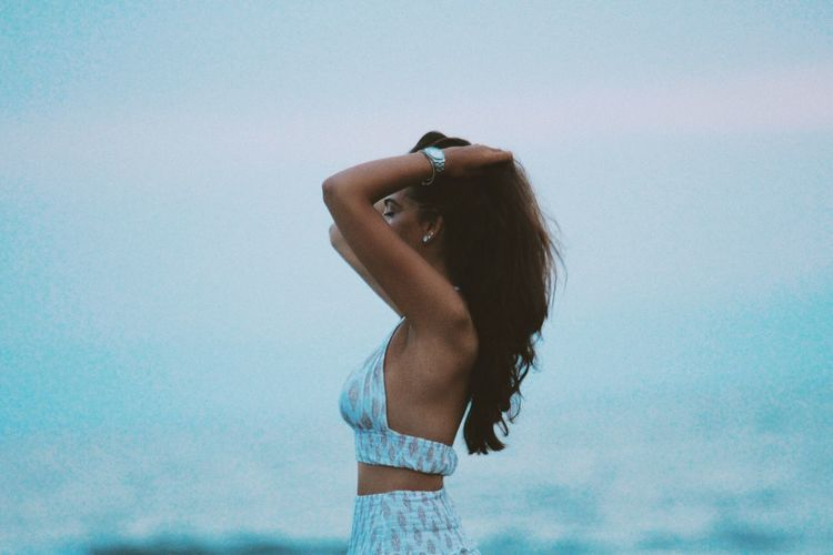 Tan Brunette Summer Girl Italy Sea Sunset