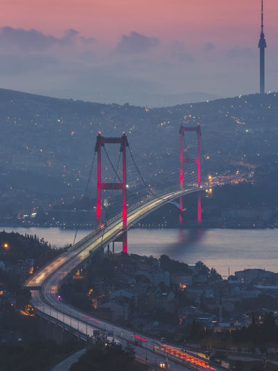 Istanbul, Turkey Architecture Built Structure Transportation City Bridge Connection Illuminated Bridge - Man Made Structure Sky Engineering Nature Suspension Bridge Travel Destinations Building Exterior Dusk Cloud - Sky Sunset Road Red Cityscape Outdoors Bay