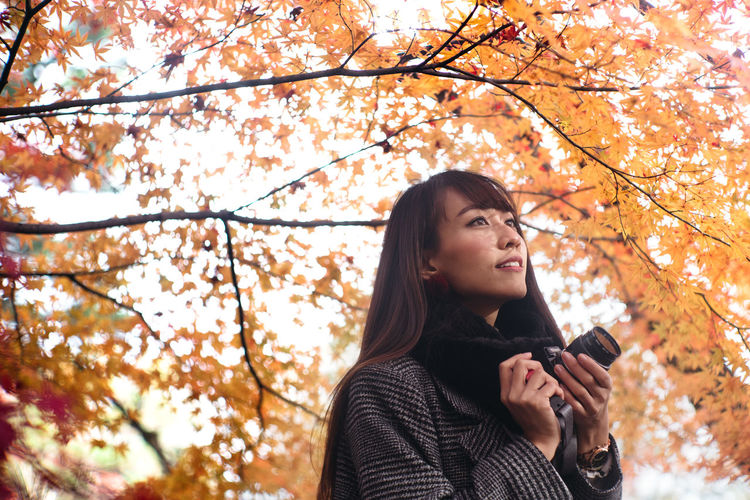 Japan Travel Autumn Autumn🍁🍁🍁 Beautiful Woman Beauty In Nature Day Headshot Leaf Lifestyles Low Angle View Nature One Person Outdoors Real People Tree