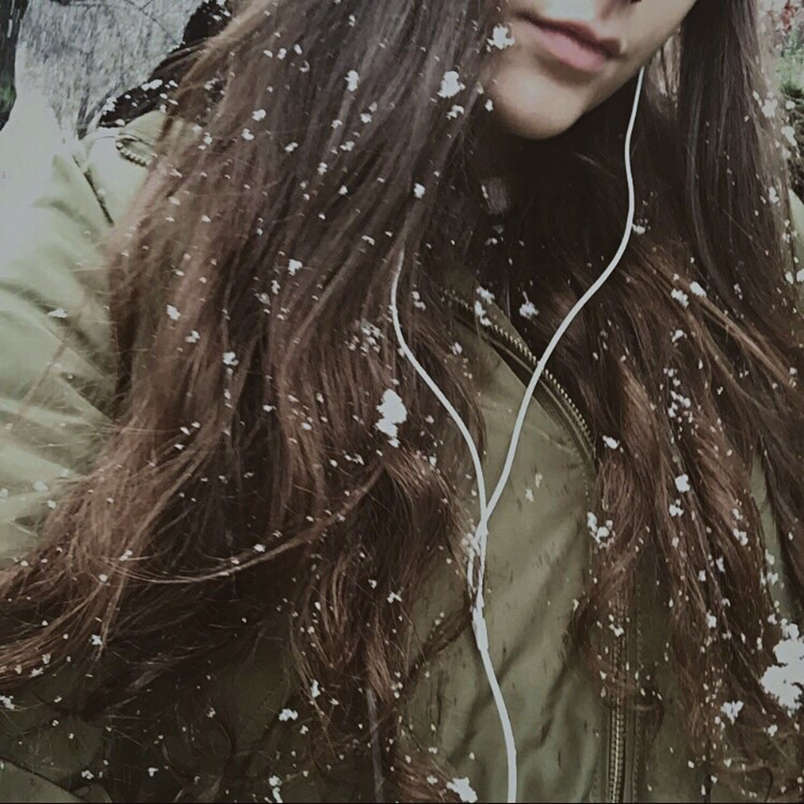 midsection, one woman only, one person, one young woman only, only women, adults only, warm clothing, adult, young adult, people, cold temperature, beauty, outdoors, day, beautiful woman, tree, close-up
