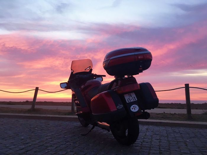 #bemotorcyclelife Honda Bertontheroad Cloud - Sky Day Land Vehicle Motorcycle Motovlogger Motovloggers Nature No People Outdoors Pan European St1100 Road Sky Sunset Transportation