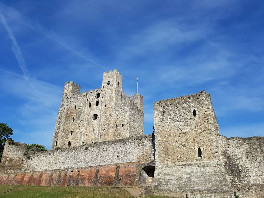 Architecture Blue Built Structure Castle Day Green Trees Historic History Low Angle View Nice View No People Outdoors Rochester Castle Sky The Past Tourist Attraction  Tourist Spot Travel Destinations White