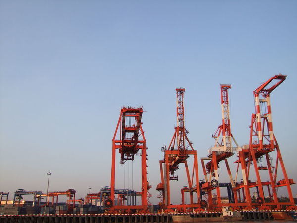 Container Cranes at Yangon Container Port Ayeyarwady River Business Clear Sky Composition Container Crane Containers Cranes Evening Light Evening Light Photography Mechanical Engineering Mechanical Equipment Mechanical Things Outdoor Photography Pink And Blue Sky Red Colour Shipping Business Shipping Terminal Sunset Light Sunset Photography Tourist Attraction  Tourist Destination Travel Destination Yangon Yangon, Myanmar
