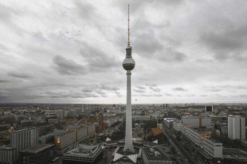 👉 Fernsehturm City Cloud - Sky Berlin TV Tower Berlin Alexanderplatz Architecture Built Structure Building Exterior City Cloud - Sky Cityscape Sky