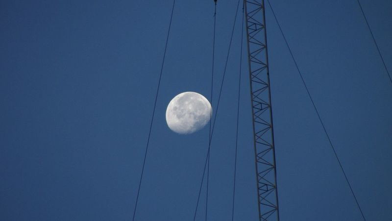 Moon Blue Sky Sebamban Tanah Bumbu Kalimantanselatan INDONESIA http://www.gettyimages.com/detail/photo/low-angle-view-of-moon-against-clear-sky-at-night-royalty-free-image/546856367