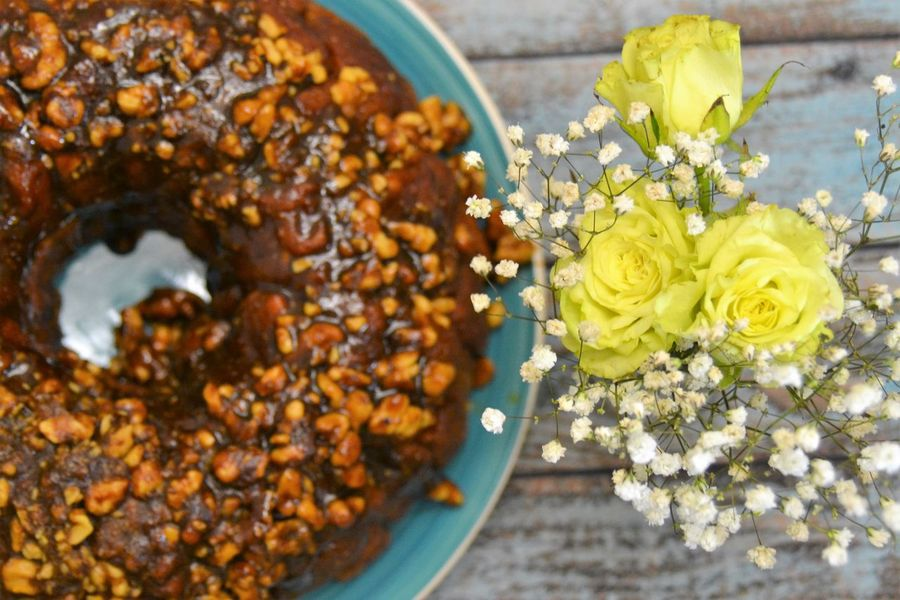 Monkey bread with cinnamon, brown sugar, sooo tasty and sweet, mmmm Blue Table Cake Calories Caramelized Close-up Delicious Festive Flowers Food Freshness Homemade Indoors  Monkey Bread No People Nuts Plate Present Soul Food Spring Summer Sweet Sweet Talk Tasty Treat Walnuts