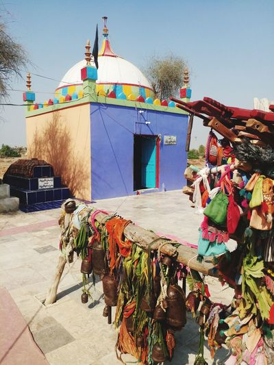 Tomb of Haut Faqir at sindh Tomb Bell Colour Full Cloth Multi Colored Flag Sky Architecture Building Exterior Street Art Spray Paint Ringing