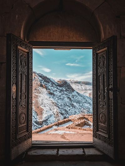 Armenia Window Indoors  Sky Architecture Glass - Material Day Nature No People Built Structure Transparent Pattern Geometric Shape Sunlight Design Travel Destinations Building Tree Looking Through Window Shape Ornate
