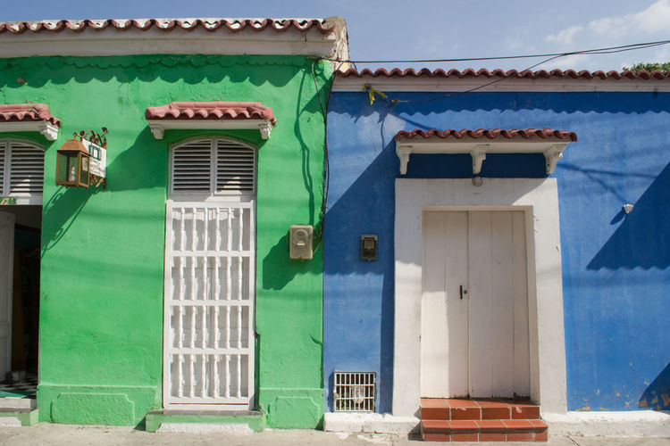 Architecture Building Exterior Built Structure Cartagena Closed Closed Door Colombia Colombia ♥  Color Palette Colorful Day Door Entrance EyeEm Best Shots EyeEm Gallery Green Color House No People Outdoors Sky