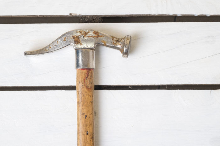 Hammer on White Table Copy Space DIY Work Banch Close-up Day Grunge Hammer Indoors  No People Pallet Pallet Wood Rusty Vintage White White Background Wood - Material Wooden Work Table Work Tool