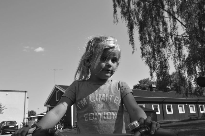 Limited edition Bike Park City Location City Lifestyles City Park Park - Man Made Space Sunlight Childhood Child Girl Monochrome Bkackandwhite Standing Portrait Sky Thoughtful Posing Wearing Head And Shoulders Pretty Hair Toss #FREIHEITBERLIN The Photojournalist - 2018 EyeEm Awards