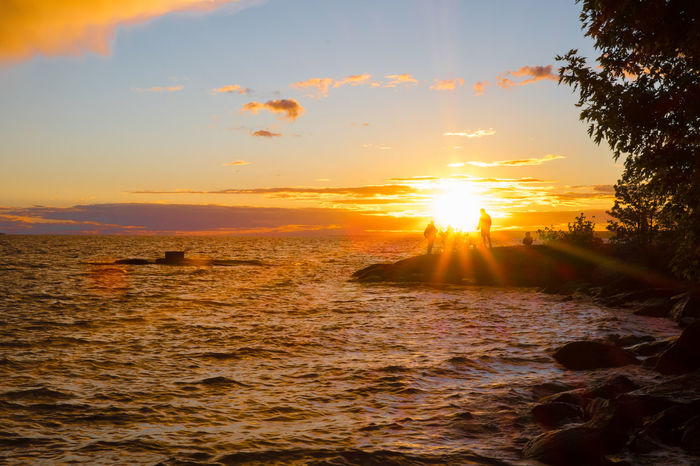 Beautiful sunset over Lake Nipissing. FUJIFILM X-T1 Lake Nipissing North Bay Ontario Beauty In Nature Day Fishing Horizon Over Water Lens Flare Nature No People Outdoors Scenics Sea Silhouette Sky Sun Sunbeam Sunlight Sunset Tranquil Scene Tranquility Water