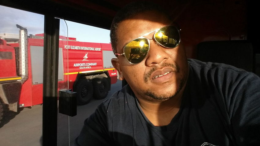 Beautiful morning Fun @work Rosenbauer Fireman Port Elizabeth Airport