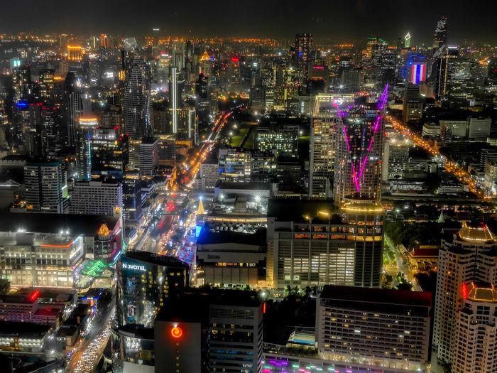 High angle view of illuminated bangkok city buildings at night