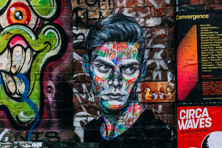 Close-up of multi colored graffiti