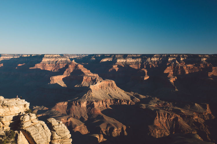 Scenic View Of Grand Canyon National Park Against Clear Blue Sky