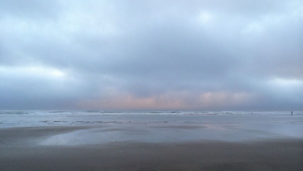 How's The Weather Today? Beach Fog Over Water Canon Beach Cloudy Sunset Clouds And Sky