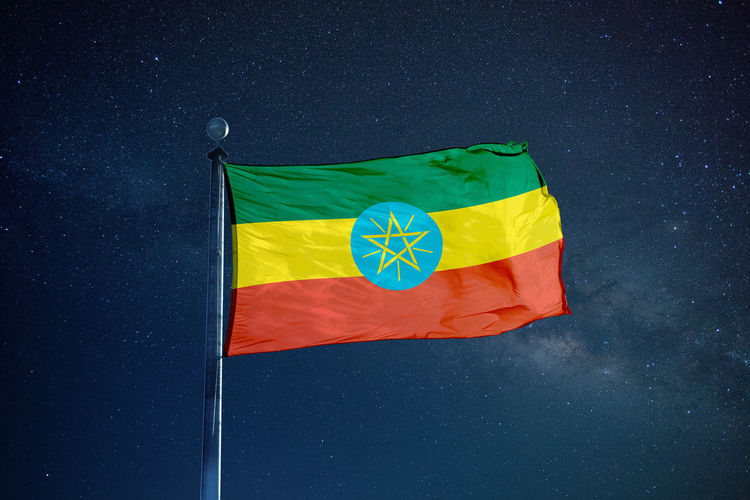 Flag of ethiopia against star field sky