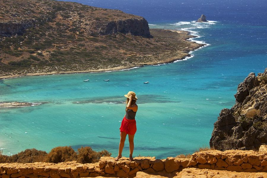 Balos Balos Beach Balos Lagoon Snap a Stranger Cliff Crete Crete Greece Full Length Greece Greece, Crete High Angle View Leisure Activity Lifestyles People And Places Rock - Object Rock Formation Scenics Sea Shore Standing Tranquil Scene Tranquility Travel Vacations Water Live For The Story Sommergefühle