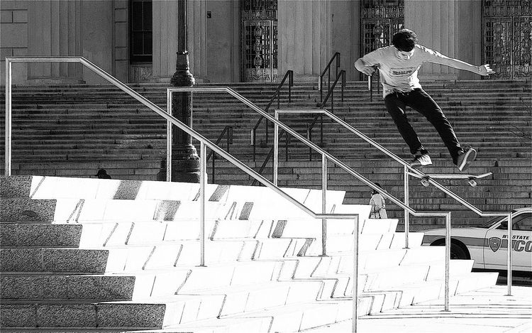 Skateboarding in the Bronx Bronx, New York NYC Street Skateboarding Adult Adults Only Architecture Blackandwhite Boys Building Exterior Built Structure Day Devin Delano Full Length Jumping Lifestyles Men Mid-air One Person Outdoors People Railing Real People Staircase Steps Steps And Staircases Testosterone Young Adult