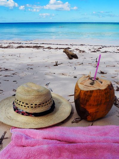 Beach Water Horizon Over Water Sea Land Horizon Hat Beauty In Nature Drinking Straw Straw Sky Nature Sand Scenics - Nature Summer Food And Drink Clothing Day Straw Hat No People Outdoors Coconut Vacations Towel Chill