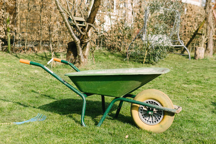Agriculture Community Garden Day Domestic Life Front Or Back Yard Garden Gardening Grass Lawn Leisure Activity No People Outdoors Spring Summer Tree Wheelbarrow