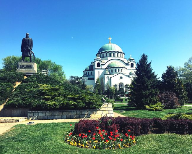 City of Belgrade, today. City Day Outdoors Architecture Dome Church Clear Sky Flowers Park Beautiful Day Springtime Belgrade