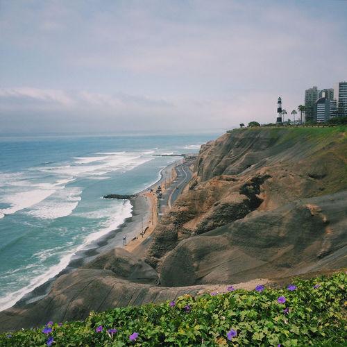 Scenic view of coastal road in miraflores against sky