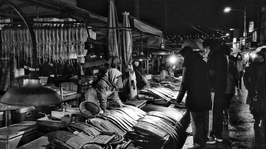 People working at market