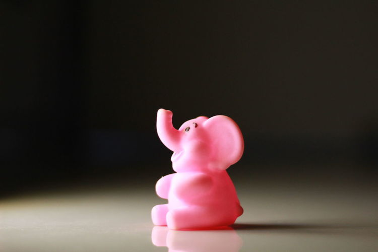 Close-up of pink toy against black background
