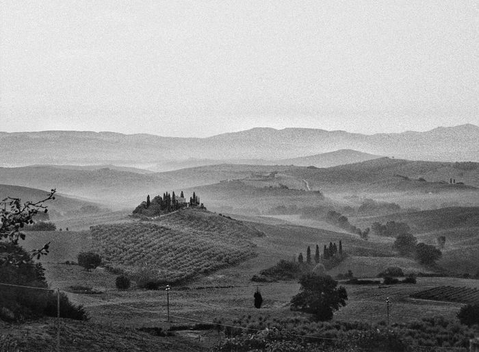 Val d'Orcia Travel Destinations Tuscany EyeEm Italy Filmphotography Tranquil Scene Scenics - Nature Tranquility Mountain Sky Environment Landscape Nature Beauty In Nature Non-urban Scene No People Land Day Outdoors High Angle View Idyllic
