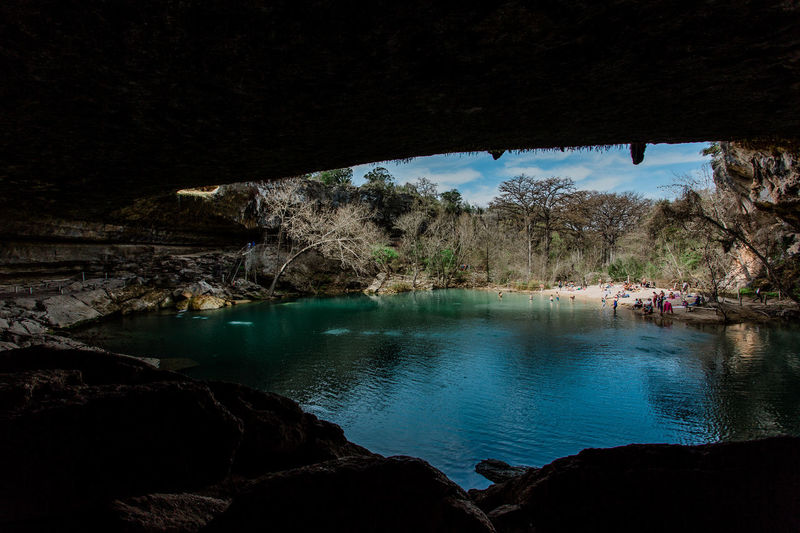 Hamilton Pool Cave Grotto Water Tree Nature Scenics - Nature Beauty In Nature Rock Plant Tranquility Tranquil Scene Rock - Object Reflection No People River Day Solid Architecture Built Structure Land Outdoors