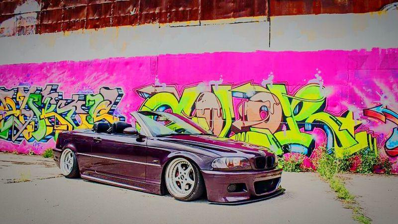 Graffiti Street Art Multi Colored Outdoors BMW E46 Tuning Cars Airride OZ-wheels Cabrio Cabriolet