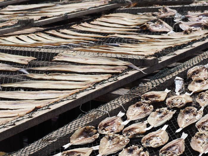 Full frame shot of dry fishes