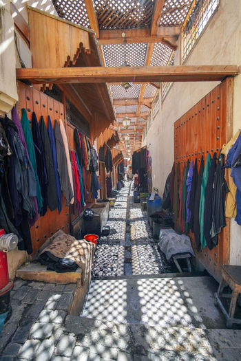 Fes, alley of clothing. Fes Morocco Travel Destinations Travel Photography EyeEmNewHere Travelling Digital Nomad Variation Choice Clothing Hanging Store Retail  Textile For Sale Shopping Business Multi Colored Sale Large Group Of Objects Rack No People Market Small Business Fashion In A Row Indoors  Order Retail Display